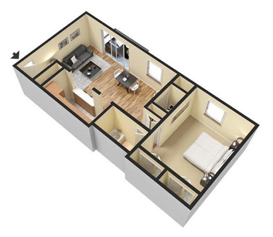 1 Bedroom 1 Bathroom. 600 sq. ft. 3D Furnished