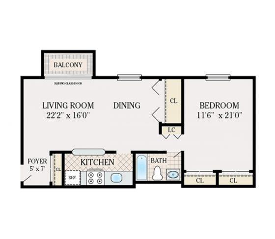 1 Bedroom 1 Bathroom. 600 sq. ft.
