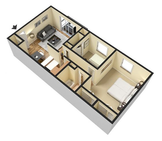 2 Bedroom 1 Bathroom. 800 sq. ft. 3D Furnished