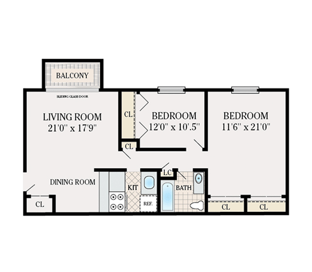 2 Bedroom 1 Bathroom. 800 Sq. Ft.